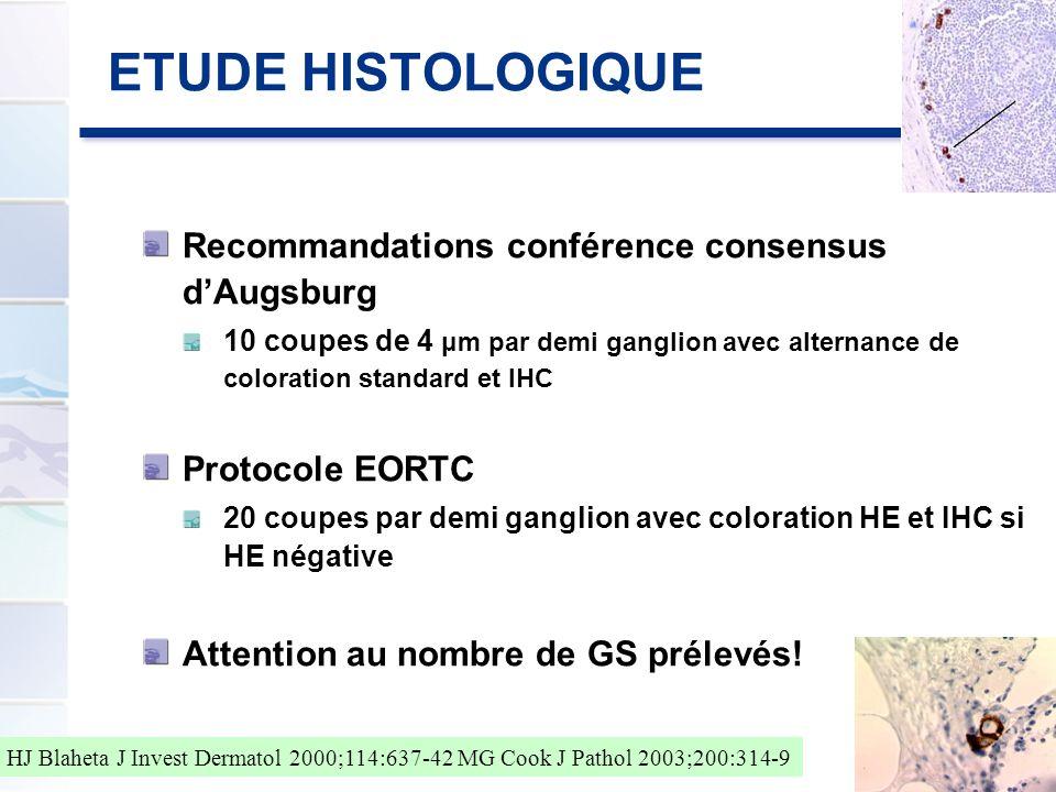 ETUDE HISTOLOGIQUE Recommandations conférence consensus dAugsburg 10 coupes de 4 μm par demi ganglion avec alternance de coloration standard et IHC Pr