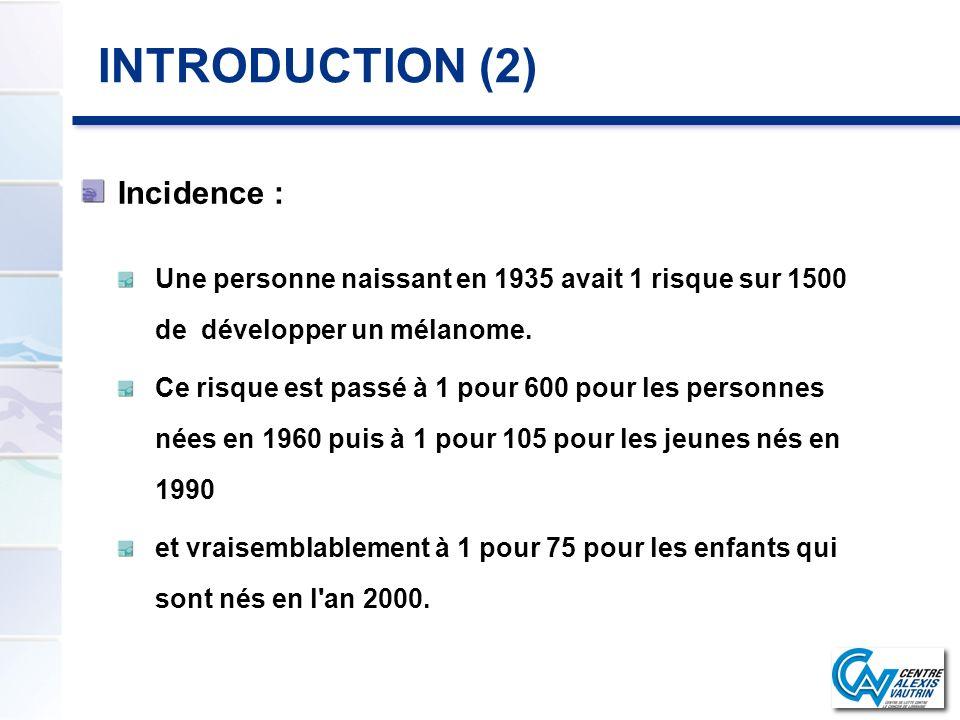 INTRODUCTION (2) Incidence : Une personne naissant en 1935 avait 1 risque sur 1500 de développer un mélanome. Ce risque est passé à 1 pour 600 pour le