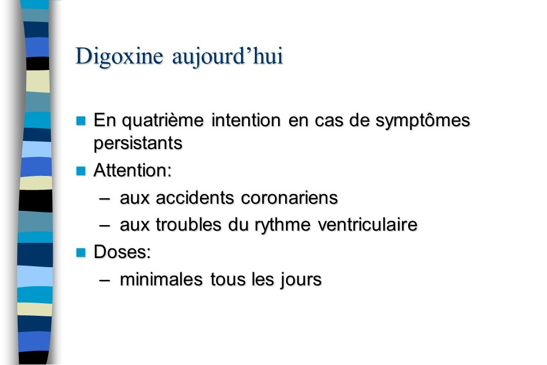 Digoxine aujourdhui En quatrième intention en cas de symptômes persistants En quatrième intention en cas de symptômes persistants Attention: Attention