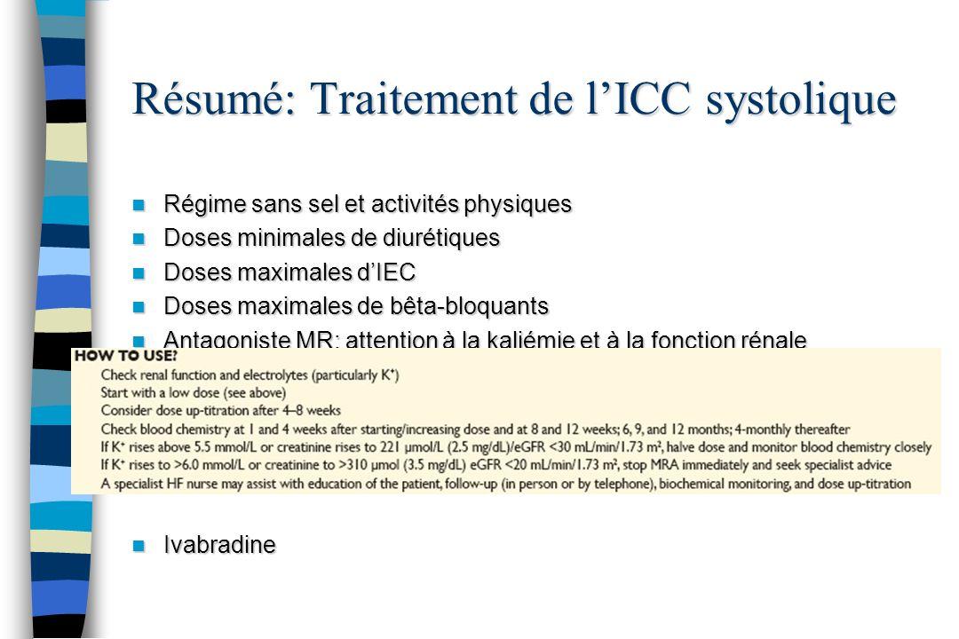 Résumé: Traitement de lICC systolique Régime sans sel et activités physiques Régime sans sel et activités physiques Doses minimales de diurétiques Dos