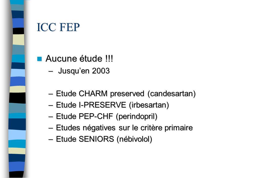 ICC FEP Aucune étude !!! Aucune étude !!! – Jusquen 2003 –Etude CHARM preserved (candesartan) –Etude I-PRESERVE (irbesartan) –Etude PEP-CHF (perindopr