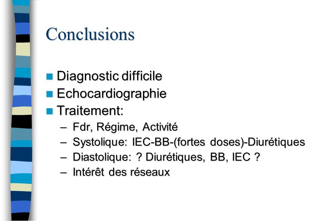 Conclusions Diagnostic difficile Diagnostic difficile Echocardiographie Echocardiographie Traitement: Traitement: – Fdr, Régime, Activité – Systolique