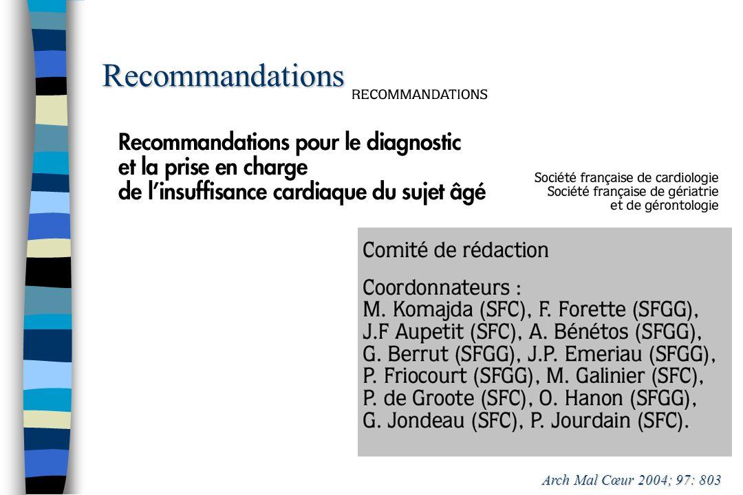 Recommandations Arch Mal Cœur 2004; 97: 803