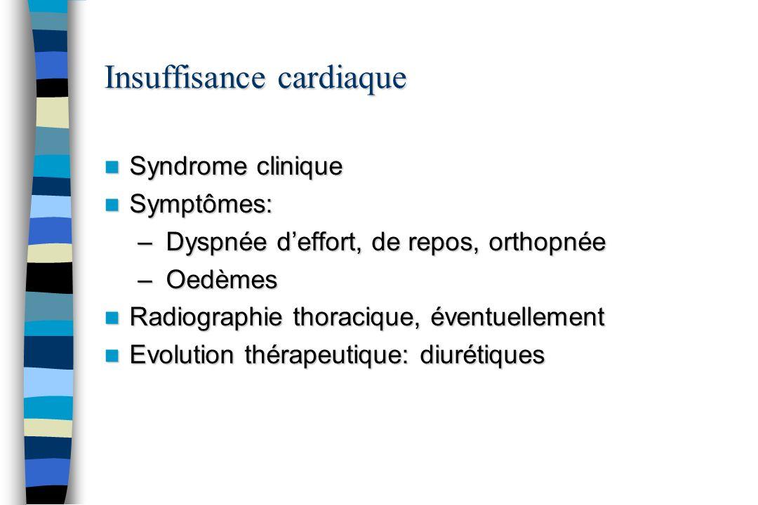 Insuffisance cardiaque Syndrome clinique Syndrome clinique Symptômes: Symptômes: – Dyspnée deffort, de repos, orthopnée – Oedèmes Radiographie thoraci
