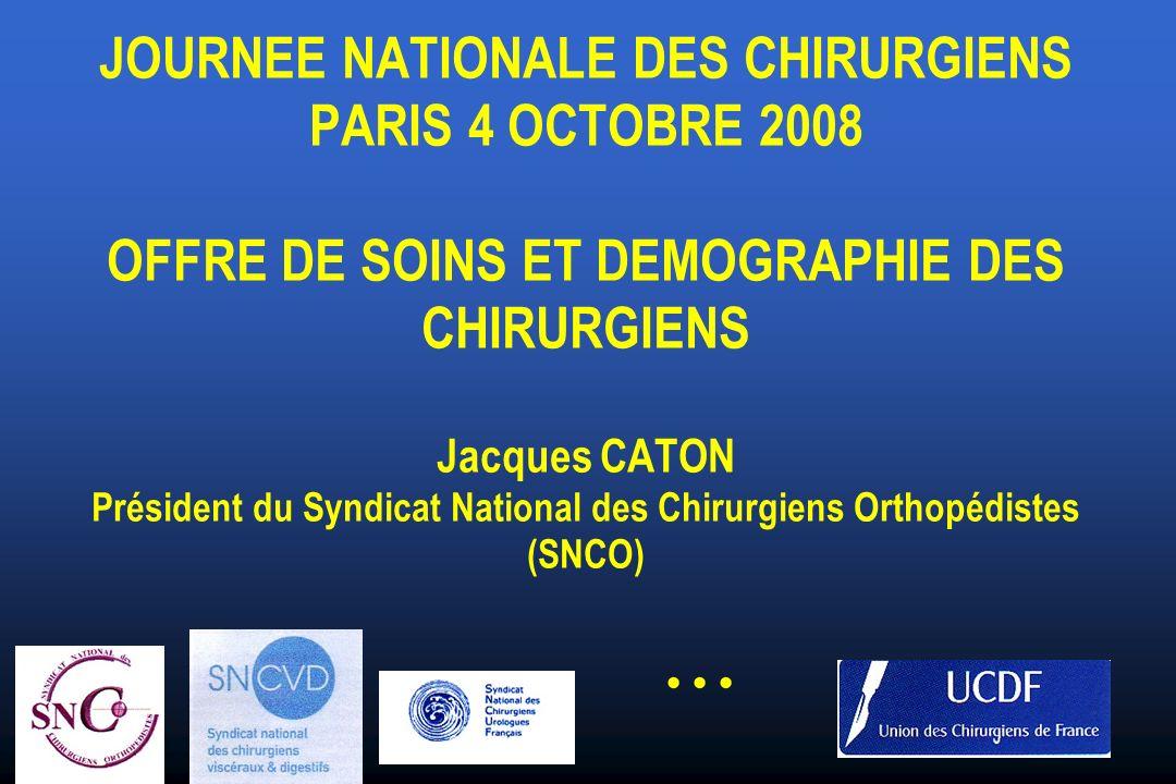 JOURNEE NATIONALE DES CHIRURGIENS PARIS 4 OCTOBRE 2008 OFFRE DE SOINS ET DEMOGRAPHIE DES CHIRURGIENS Jacques CATON Président du Syndicat National des Chirurgiens Orthopédistes (SNCO)...