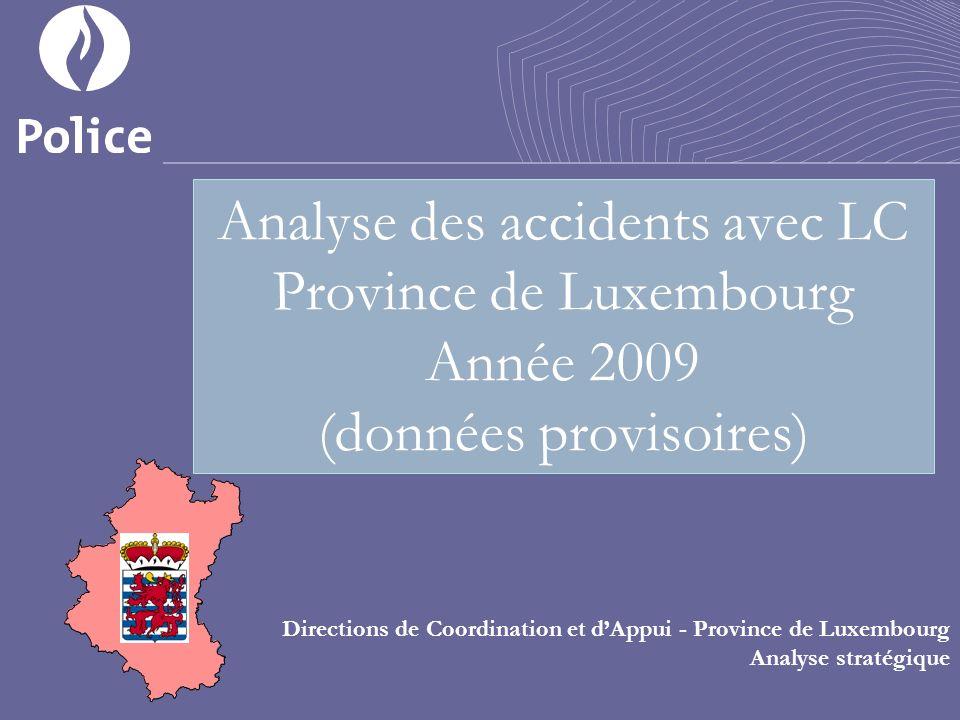 Analyse des accidents avec LC Province de Luxembourg Année 2009 (données provisoires) Directions de Coordination et dAppui - Province de Luxembourg Analyse stratégique