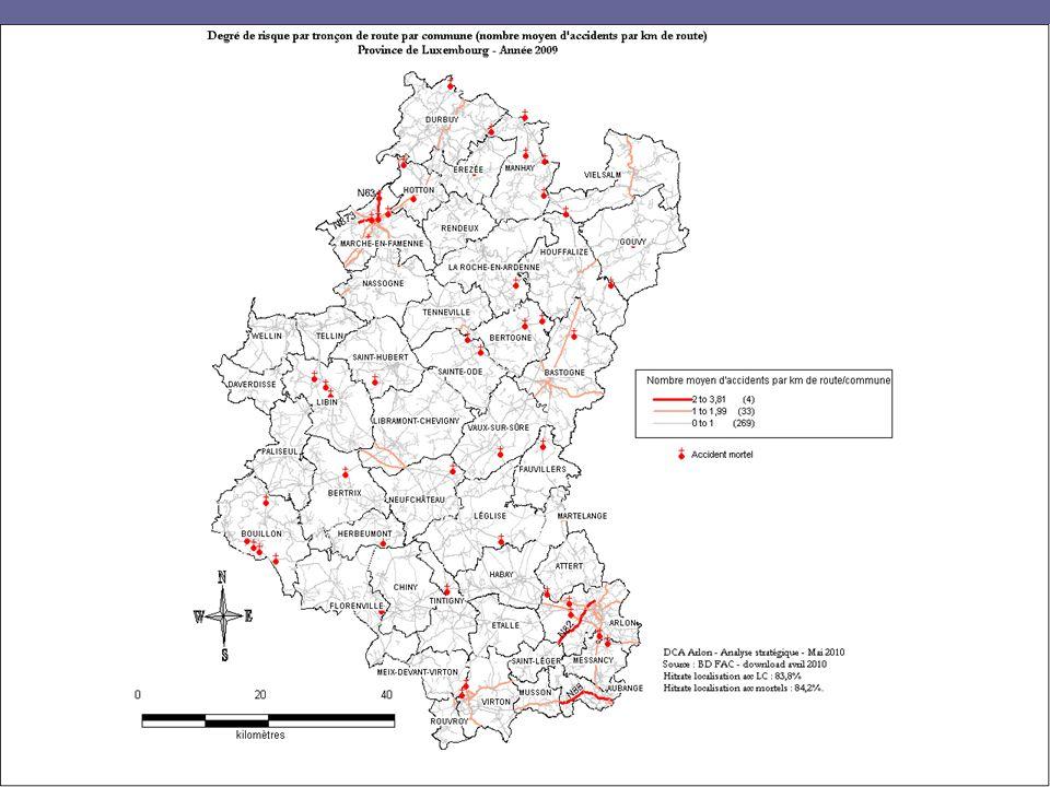 Listing routes à risque daccident (indice de 2 à 3,81 acc/km/route/commune) DCAs Province - Analyse stratégique13