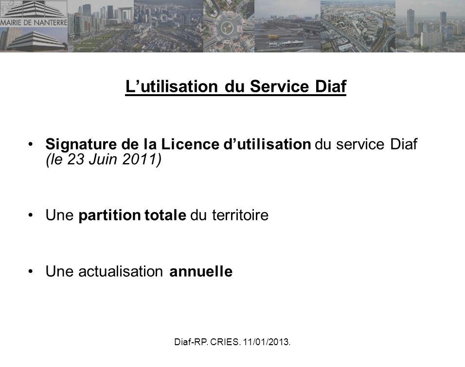 Diaf-RP. CRIES. 11/01/2013. Lutilisation du Service Diaf Signature de la Licence dutilisation du service Diaf (le 23 Juin 2011) Une partition totale d