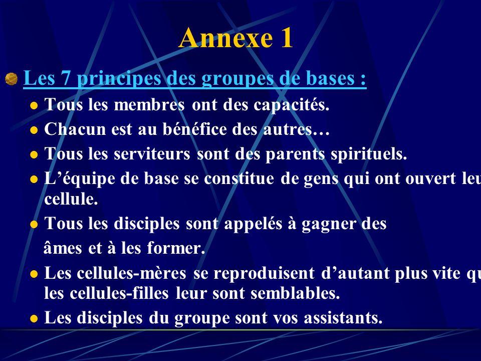 Les 4 annexes : 1) Les sept principes des groupes de bases. 2) Déroulement des réunions dans les cellules de vie ou « Maisons Vivantes » 3) Comment le