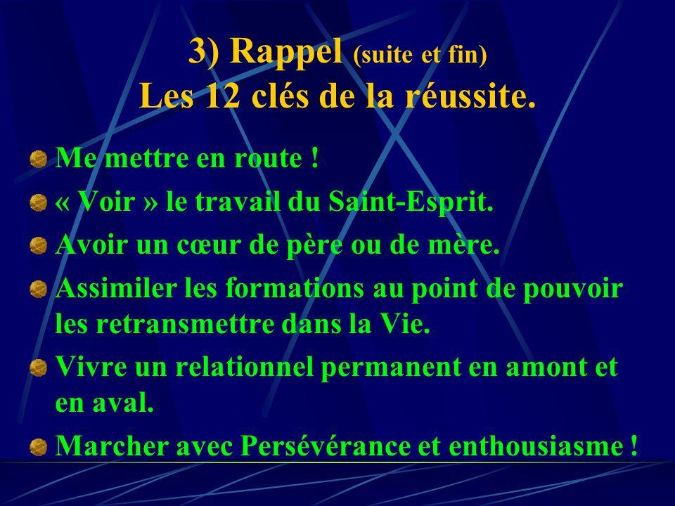 3) Rappel : Les 12 clés de la réussite. Etre conscient du besoin. Avoir reçu la grande révélation (Mat. 16) Avoir la foi. Accepter lAmour et la Motiva