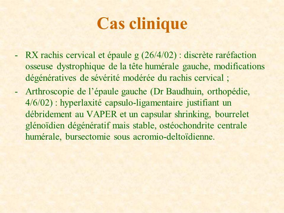 -RX rachis cervical et épaule g (26/4/02) : discrète raréfaction osseuse dystrophique de la tête humérale gauche, modifications dégénératives de sévér
