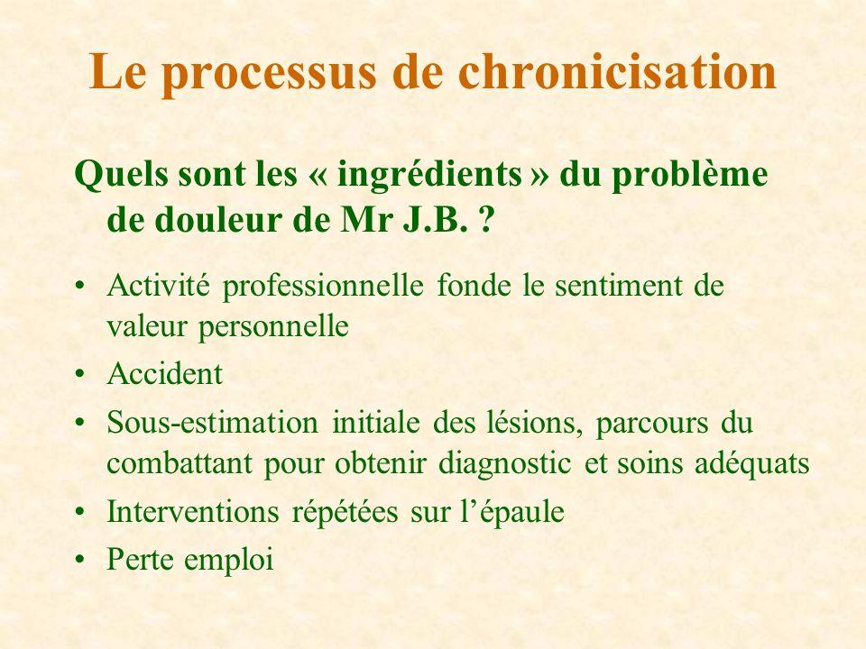 Quels sont les « ingrédients » du problème de douleur de Mr J.B. ? Activité professionnelle fonde le sentiment de valeur personnelle Accident Sous-est