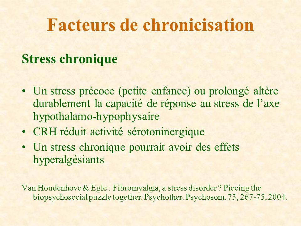 Stress chronique Un stress précoce (petite enfance) ou prolongé altère durablement la capacité de réponse au stress de laxe hypothalamo-hypophysaire C