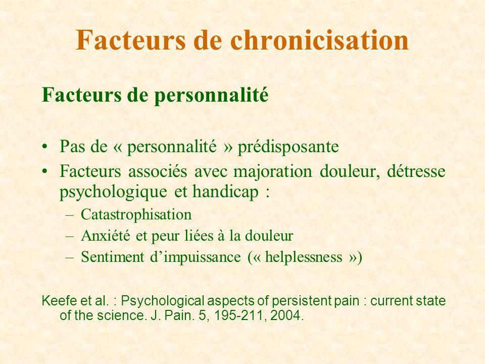 Facteurs de personnalité Pas de « personnalité » prédisposante Facteurs associés avec majoration douleur, détresse psychologique et handicap : –Catast