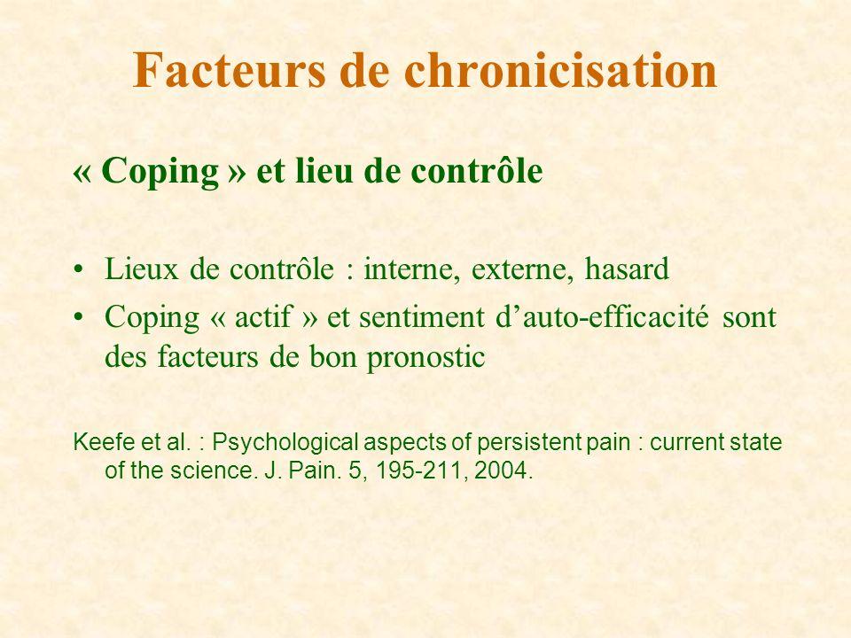 « Coping » et lieu de contrôle Lieux de contrôle : interne, externe, hasard Coping « actif » et sentiment dauto-efficacité sont des facteurs de bon pr