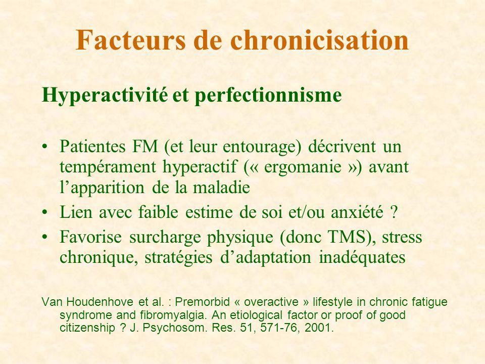 Hyperactivité et perfectionnisme Patientes FM (et leur entourage) décrivent un tempérament hyperactif (« ergomanie ») avant lapparition de la maladie