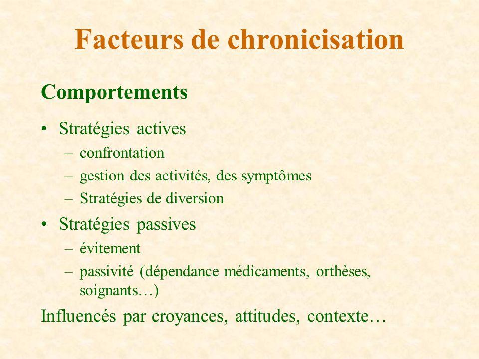 Comportements Stratégies actives –confrontation –gestion des activités, des symptômes –Stratégies de diversion Stratégies passives –évitement –passivi