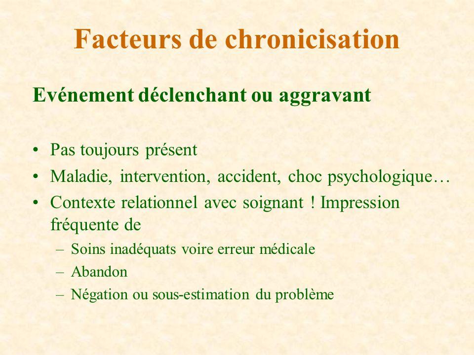 Evénement déclenchant ou aggravant Pas toujours présent Maladie, intervention, accident, choc psychologique… Contexte relationnel avec soignant ! Impr