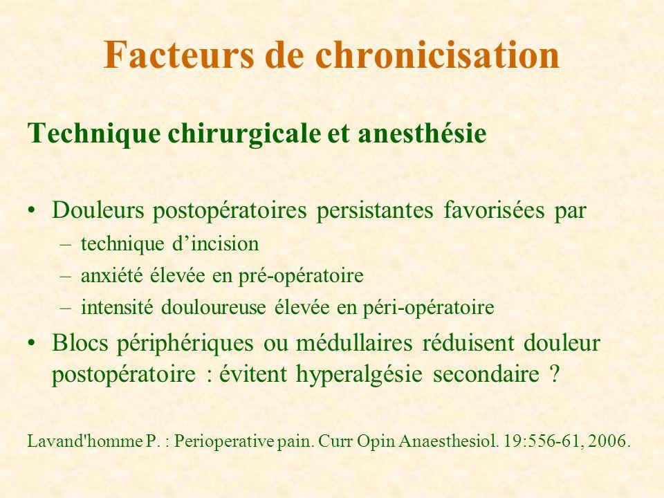 Technique chirurgicale et anesthésie Douleurs postopératoires persistantes favorisées par –technique dincision –anxiété élevée en pré-opératoire –inte