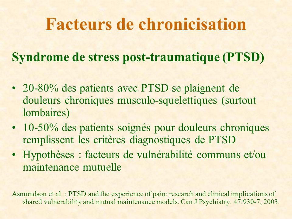 Syndrome de stress post-traumatique (PTSD) 20-80% des patients avec PTSD se plaignent de douleurs chroniques musculo-squelettiques (surtout lombaires)