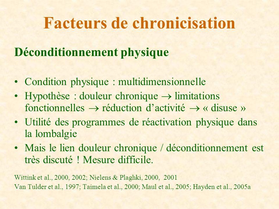 Déconditionnement physique Condition physique : multidimensionnelle Hypothèse : douleur chronique limitations fonctionnelles réduction dactivité « dis