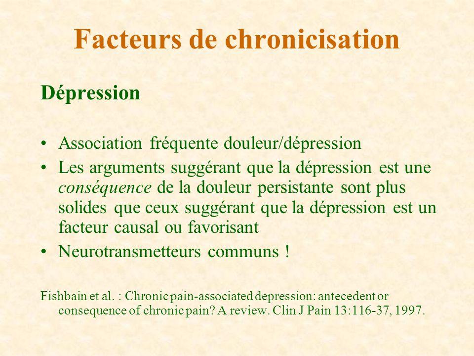 Dépression Association fréquente douleur/dépression Les arguments suggérant que la dépression est une conséquence de la douleur persistante sont plus