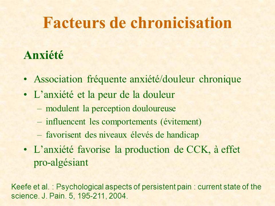 Anxiété Association fréquente anxiété/douleur chronique Lanxiété et la peur de la douleur –modulent la perception douloureuse –influencent les comport