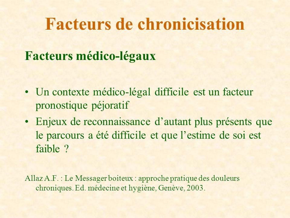 Facteurs médico-légaux Un contexte médico-légal difficile est un facteur pronostique péjoratif Enjeux de reconnaissance dautant plus présents que le p