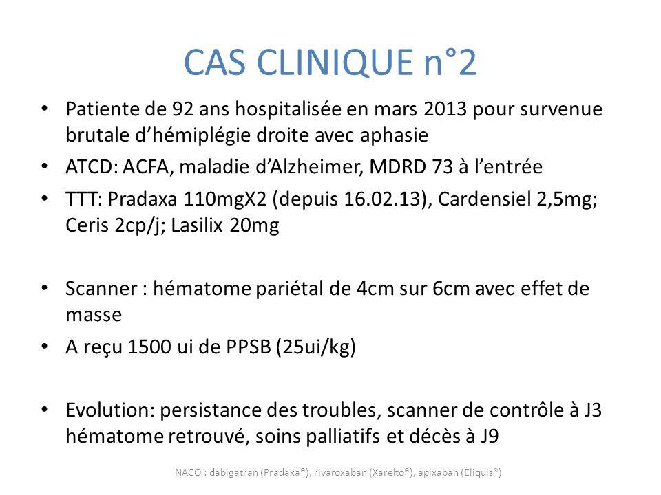 CAS CLINIQUE n°2 Patiente de 92 ans hospitalisée en mars 2013 pour survenue brutale dhémiplégie droite avec aphasie ATCD: ACFA, maladie dAlzheimer, MD