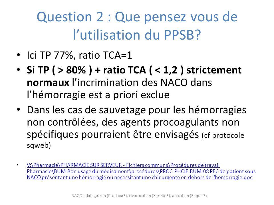 Question 2 : Que pensez vous de lutilisation du PPSB? Ici TP 77%, ratio TCA=1 Si TP ( > 80% ) + ratio TCA ( < 1,2 ) strictement normaux lincrimination