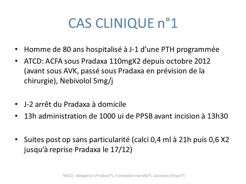 CAS CLINIQUE n°1 Homme de 80 ans hospitalisé à J-1 dune PTH programmée ATCD: ACFA sous Pradaxa 110mgX2 depuis octobre 2012 (avant sous AVK, passé sous