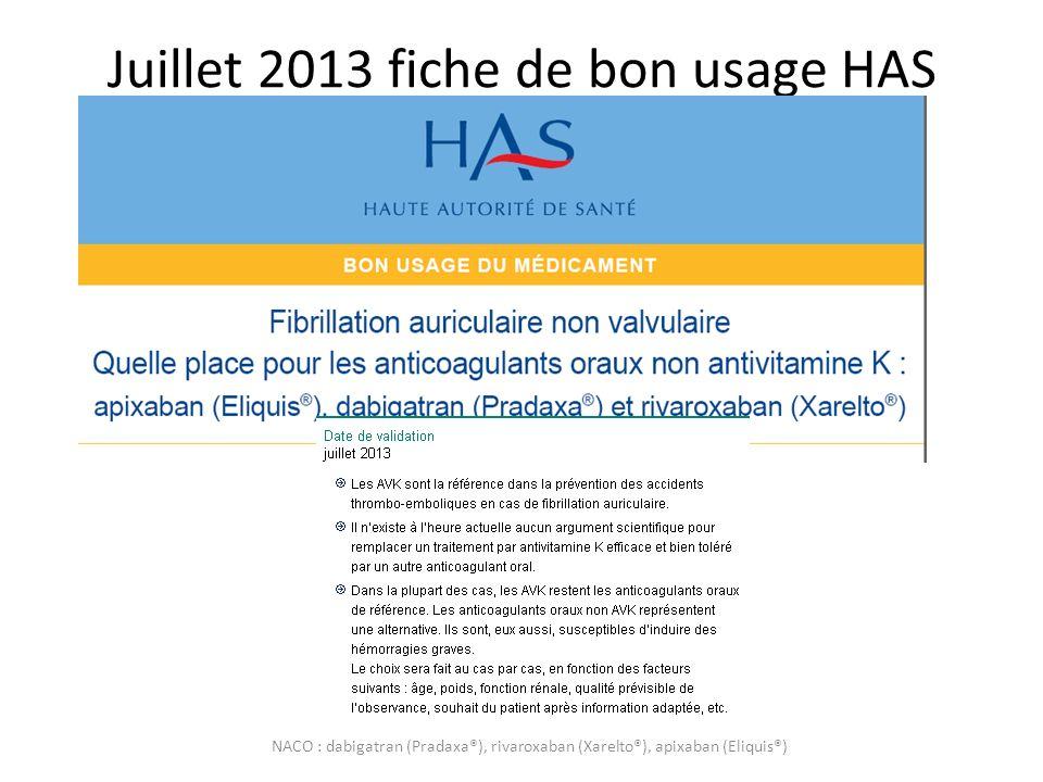 Juillet 2013 fiche de bon usage HAS NACO : dabigatran (Pradaxa®), rivaroxaban (Xarelto®), apixaban (Eliquis®)