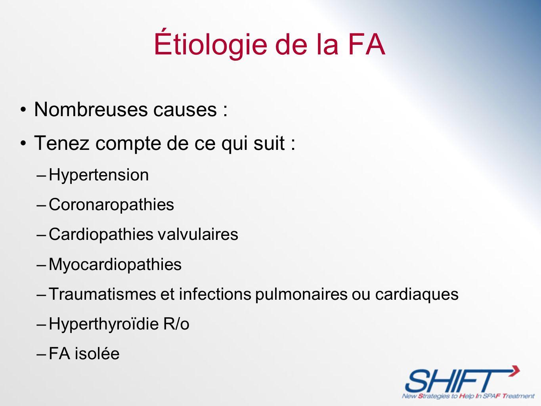 Étiologie de la FA Nombreuses causes : Tenez compte de ce qui suit : –Hypertension –Coronaropathies –Cardiopathies valvulaires –Myocardiopathies –Trau