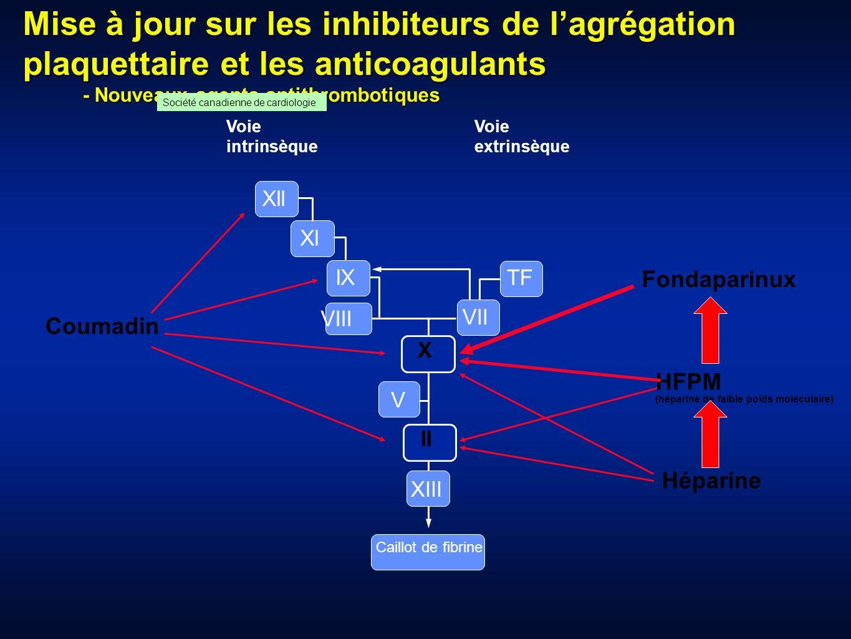 Mise à jour sur les inhibiteurs de lagrégation plaquettaire et les anticoagulants - Nouveaux agents antithrombotiques - Nouveaux agents antithrombotiq
