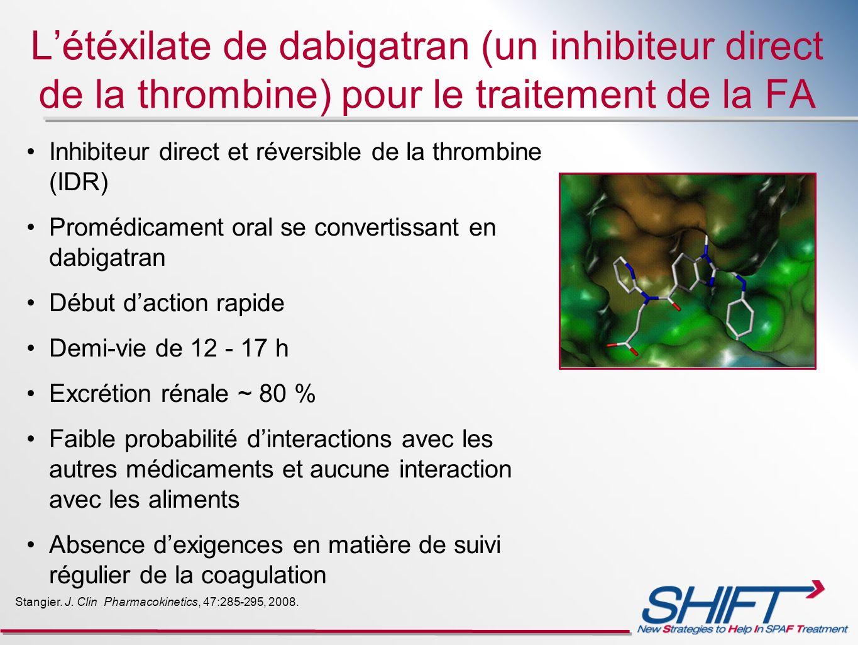 Létéxilate de dabigatran (un inhibiteur direct de la thrombine) pour le traitement de la FA Inhibiteur direct et réversible de la thrombine (IDR) Prom