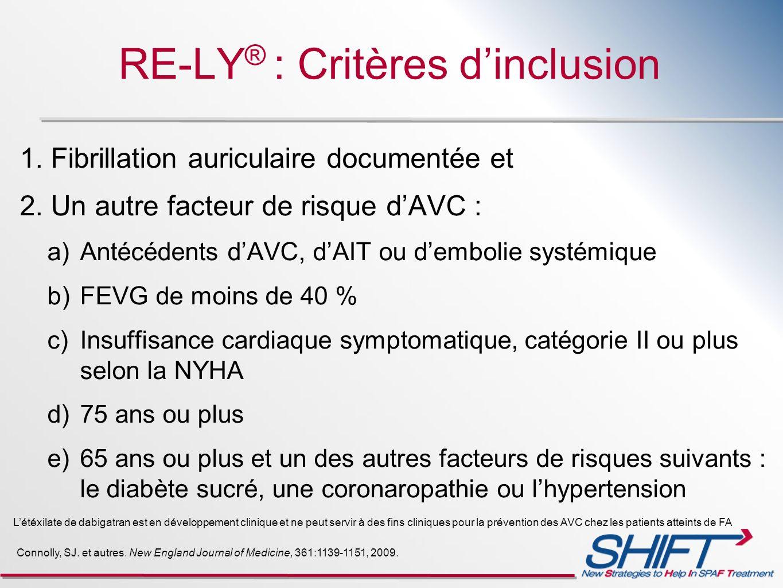 RE-LY ® : Critères dinclusion 1. Fibrillation auriculaire documentée et 2. Un autre facteur de risque dAVC : a) Antécédents dAVC, dAIT ou dembolie sys