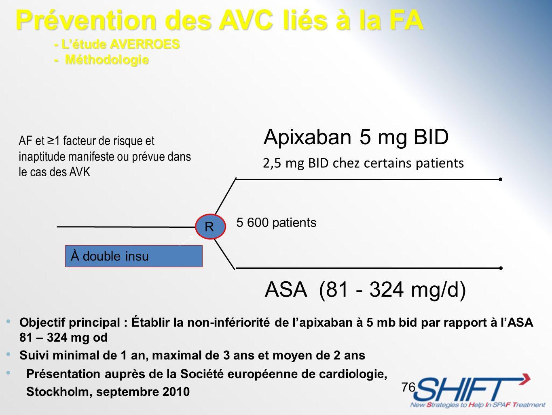 Objectif principal : Établir la non-infériorité de lapixaban à 5 mb bid par rapport à lASA 81 – 324 mg od Suivi minimal de 1 an, maximal de 3 ans et m