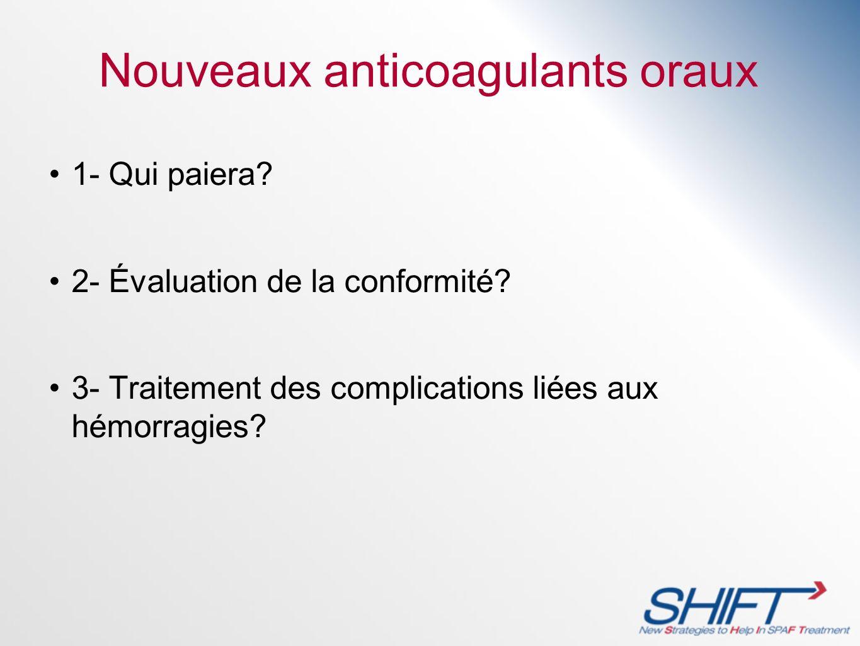 Nouveaux anticoagulants oraux 1- Qui paiera? 2- Évaluation de la conformité? 3- Traitement des complications liées aux hémorragies?