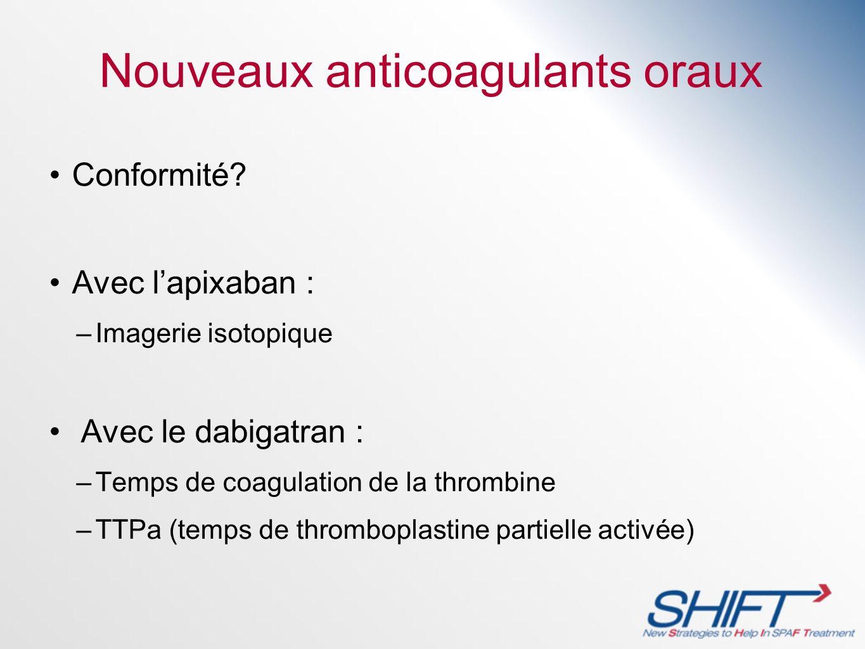 Nouveaux anticoagulants oraux Conformité? Avec lapixaban : –Imagerie isotopique Avec le dabigatran : –Temps de coagulation de la thrombine –TTPa (temp