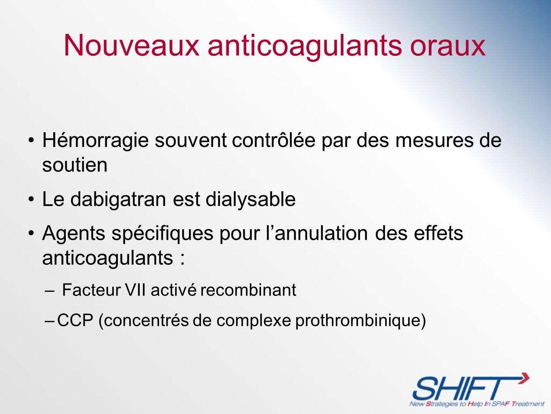 Nouveaux anticoagulants oraux Hémorragie souvent contrôlée par des mesures de soutien Le dabigatran est dialysable Agents spécifiques pour lannulation