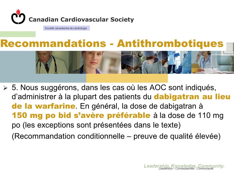 Leadership. Knowledge. Community. 5. Nous suggérons, dans les cas où les AOC sont indiqués, dadministrer à la plupart des patients du dabigatran au li