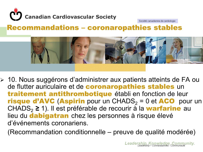 Leadership. Knowledge. Community. 10. Nous suggérons dadministrer aux patients atteints de FA ou de flutter auriculaire et de coronaropathies stables