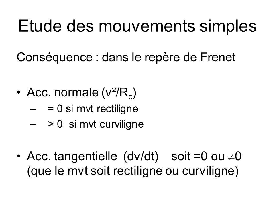 Etude des mouvements simples Conséquence : dans le repère de Frenet Acc. normale (v²/R c ) – = 0 si mvt rectiligne – > 0 si mvt curviligne Acc. tangen