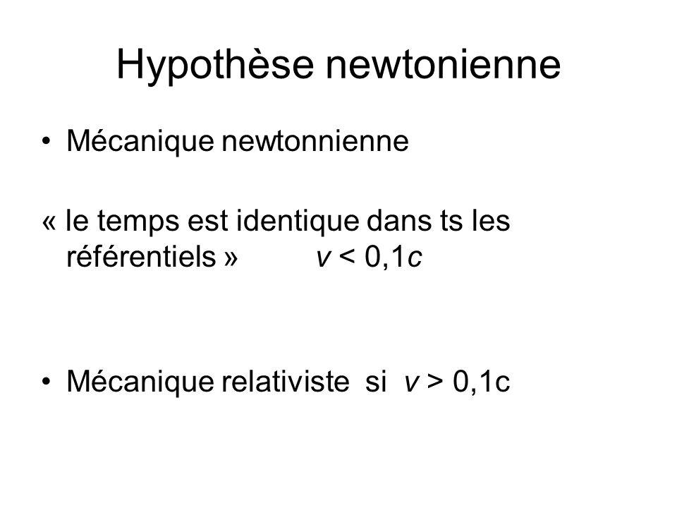 Hypothèse newtonienne Mécanique newtonnienne « le temps est identique dans ts les référentiels » v < 0,1c c = 300 000km/s Mécanique relativiste si v > 0,1c