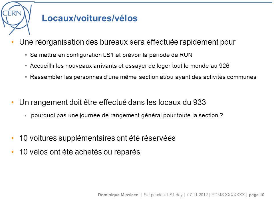 Dominique Missiaen | SU pendant LS1 day | 07.11.2012 | EDMS XXXXXXX | page 10 Locaux/voitures/vélos Une réorganisation des bureaux sera effectuée rapi