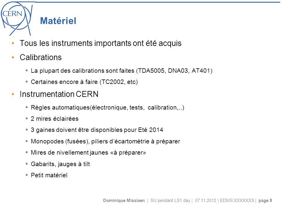 Dominique Missiaen | SU pendant LS1 day | 07.11.2012 | EDMS XXXXXXX | page 8 Matériel Tous les instruments importants ont été acquis Calibrations La plupart des calibrations sont faites (TDA5005, DNA03, AT401) Certaines encore à faire (TC2002, etc) Instrumentation CERN Règles automatiques(électronique, tests, calibration,..) 2 mires éclairées 3 gaines doivent être disponibles pour Eté 2014 Monopodes (fusées), piliers décartométrie à préparer Mires de nivellement jaunes «à préparer» Gabarits, jauges à tilt Petit matériel
