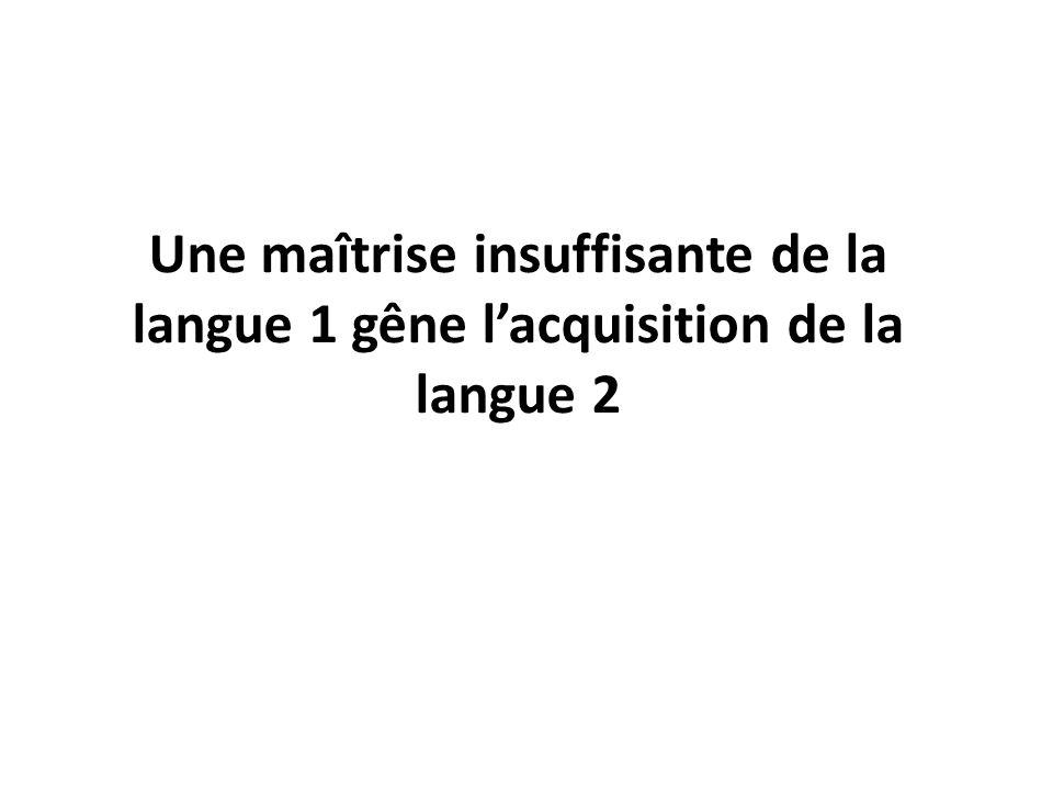 Une maîtrise insuffisante de la langue 1 gêne lacquisition de la langue 2