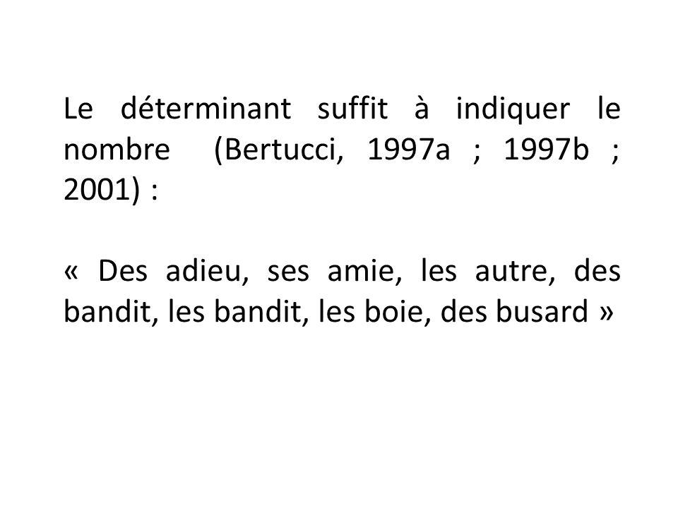 Le déterminant suffit à indiquer le nombre (Bertucci, 1997a ; 1997b ; 2001) : « Des adieu, ses amie, les autre, des bandit, les bandit, les boie, des