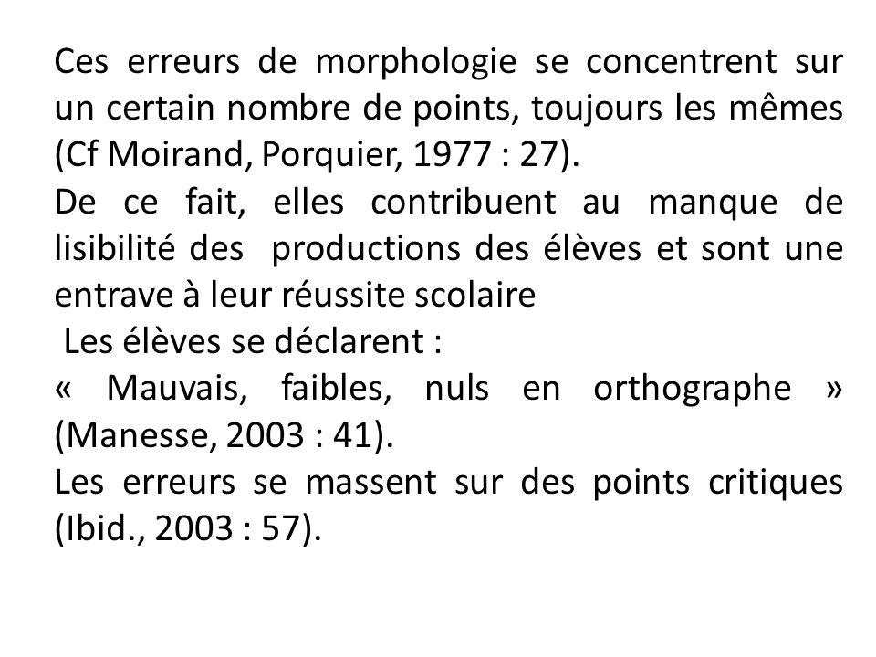 Ces erreurs de morphologie se concentrent sur un certain nombre de points, toujours les mêmes (Cf Moirand, Porquier, 1977 : 27). De ce fait, elles con