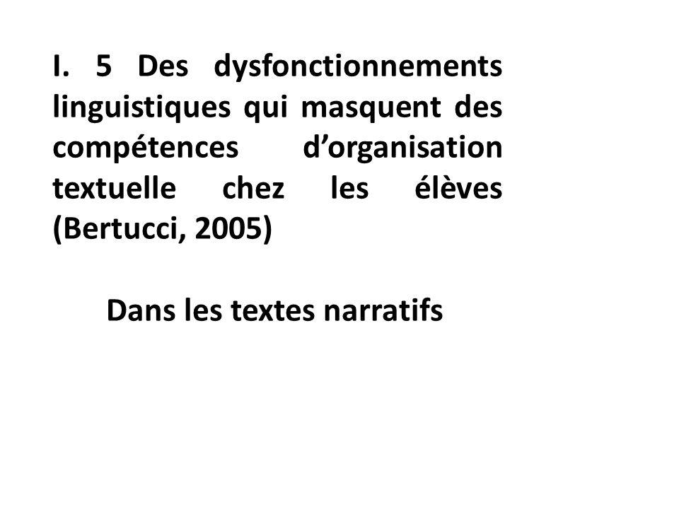 I. 5 Des dysfonctionnements linguistiques qui masquent des compétences dorganisation textuelle chez les élèves (Bertucci, 2005) Dans les textes narrat